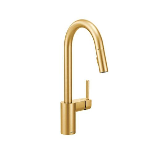 Moen Align Brushed Gold 1 Handle Deck Mount Pull Down Handle Lever Commercial Residential Kitchen Faucet Lowes Com In 2020 Kitchen Faucet Gold Kitchen Faucet Brass Kitchen Faucet