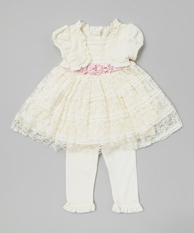 Look at this #zulilyfind! Beige Lace Tunic & Leggings - Infant by Nannette Baby #zulilyfinds
