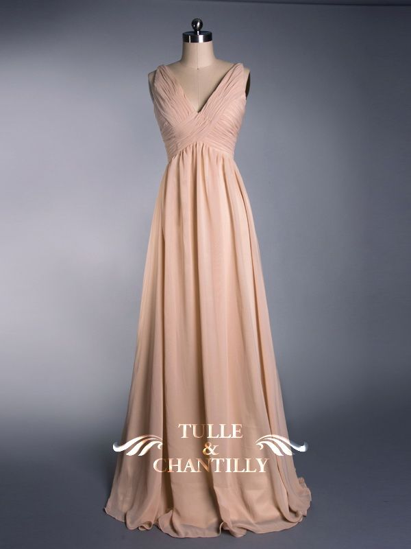 Simple Flowy Peach Pleated V-neck Bridesmaid Dress  TBQP099  -  149.00    Custom Wedding 968f4d2c32cc