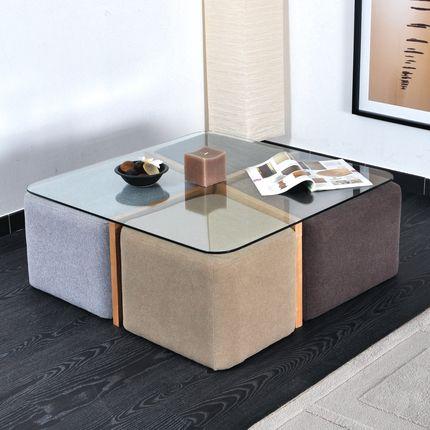 Table Basse Table D Appoint Table Basse 4 Poufs Vintage La