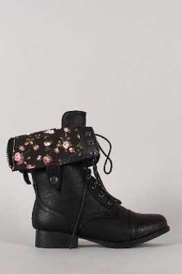 Wild Diva Women Jetta-25F Lace Up Combat Military Boots With Foldable Cuff