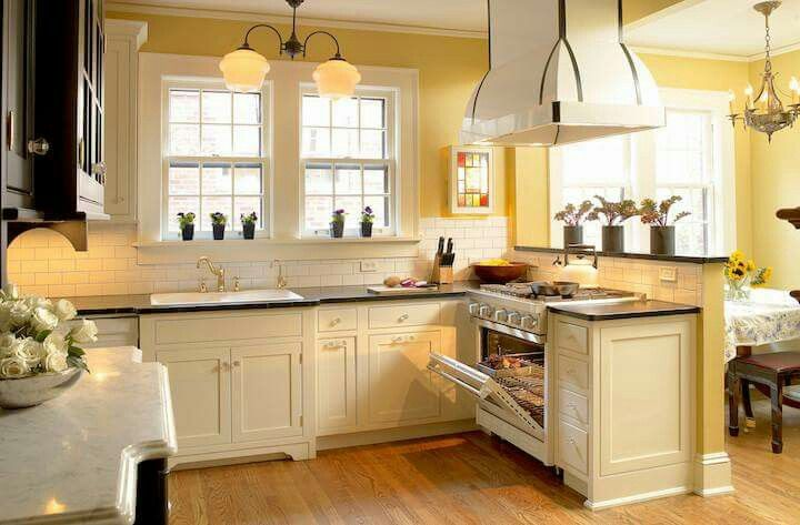 Pin By Tracy Spate On First Glance Small Kitchen Makeovers Antique White Kitchen Yellow Kitchen Cabinets
