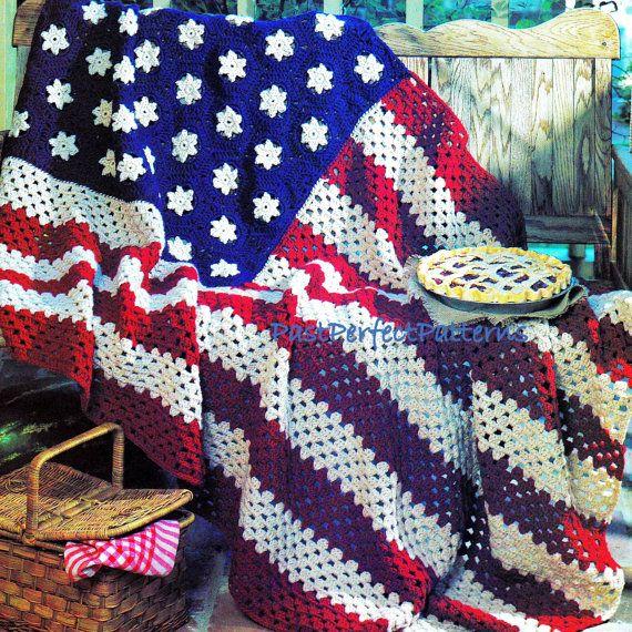 INSTANT DOWNLOAD PDF Vintage Crochet Pattern for Stars and Stripes ...