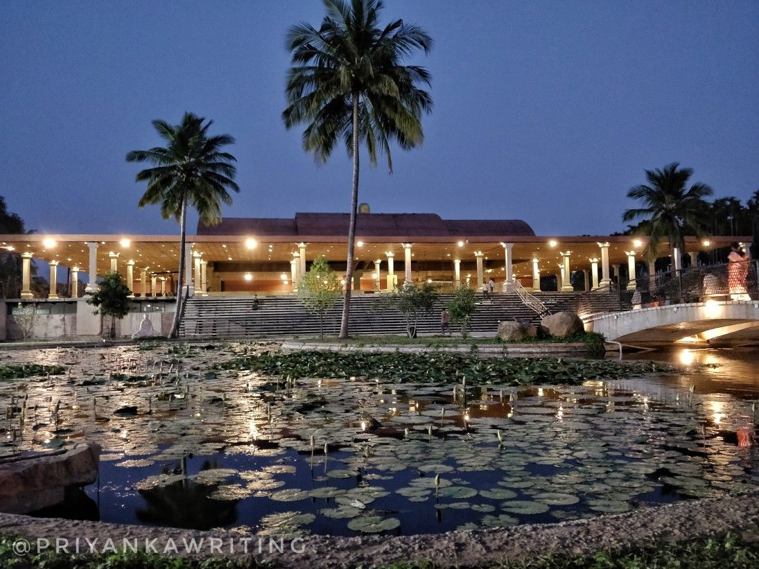Lotus Lake In Front Of The Surya Kind At Night Ethereal Isha Yoga Places To Go Mansions