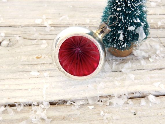 Small and Sweet Mid Century Glass Indent Ornament from Poland