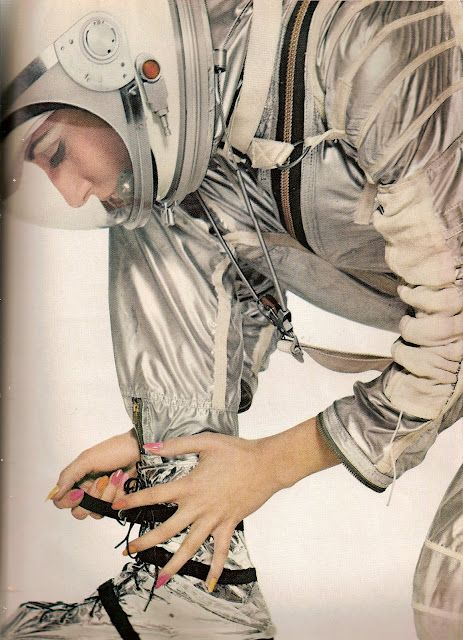 so for sure. have a suit like this over the top of a suit made for planatry exploration. this one is like a cover that is for hot climates or other things. just a foil looking fabric, attached at the joints with rings. Harper's Bazaar  April 1965  AVEDON