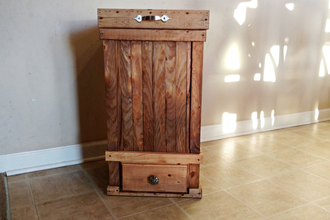 13 Gallon Trash Can With Bottom Drawer Rustic Kitchen Trash Can Wood Trash Can With Storage Kitchen T Rustic Kitchen Trash Cans Kitchen Trash Cans Trash Can