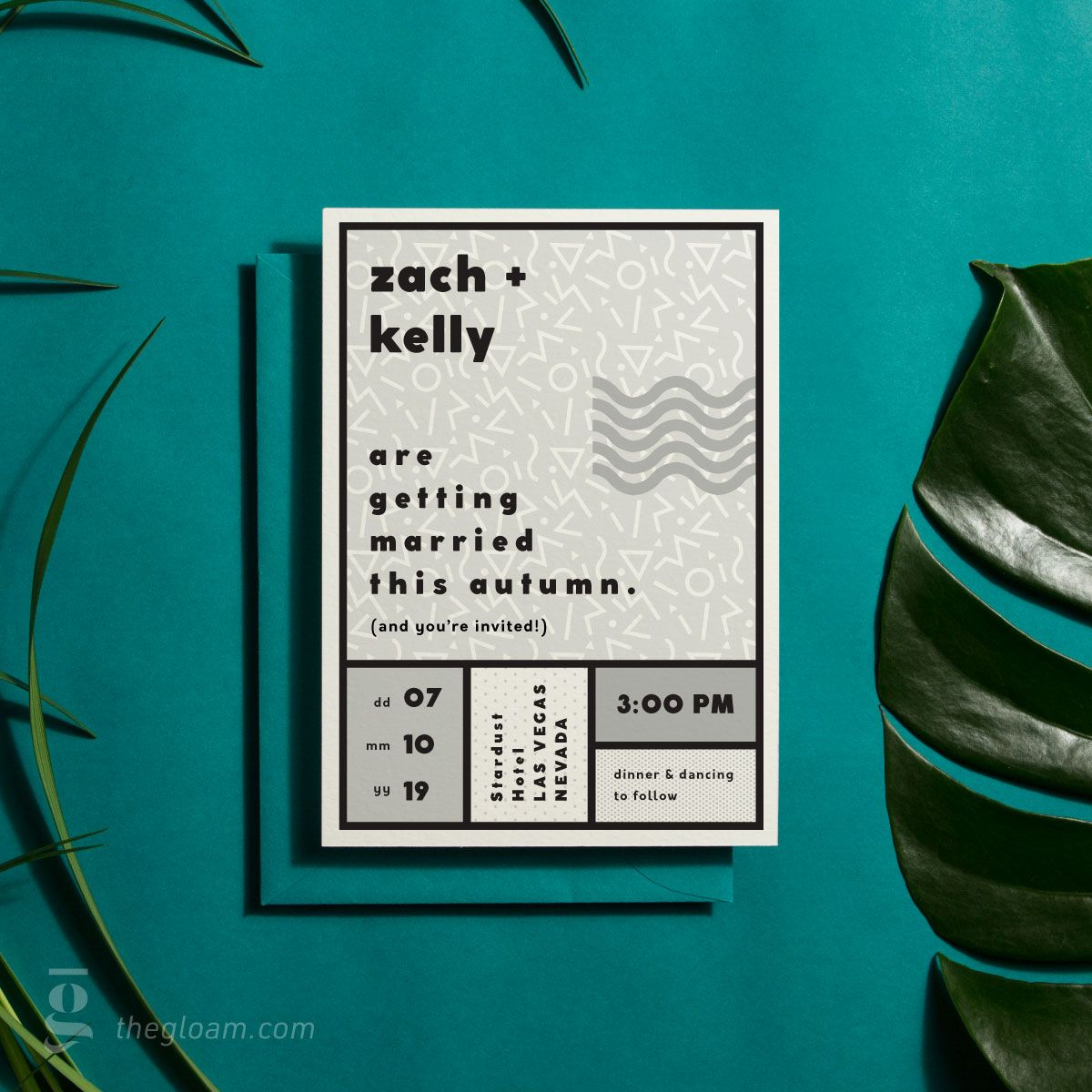 90 S Wedding Invitation Suite B W 6 Colour Options Modern