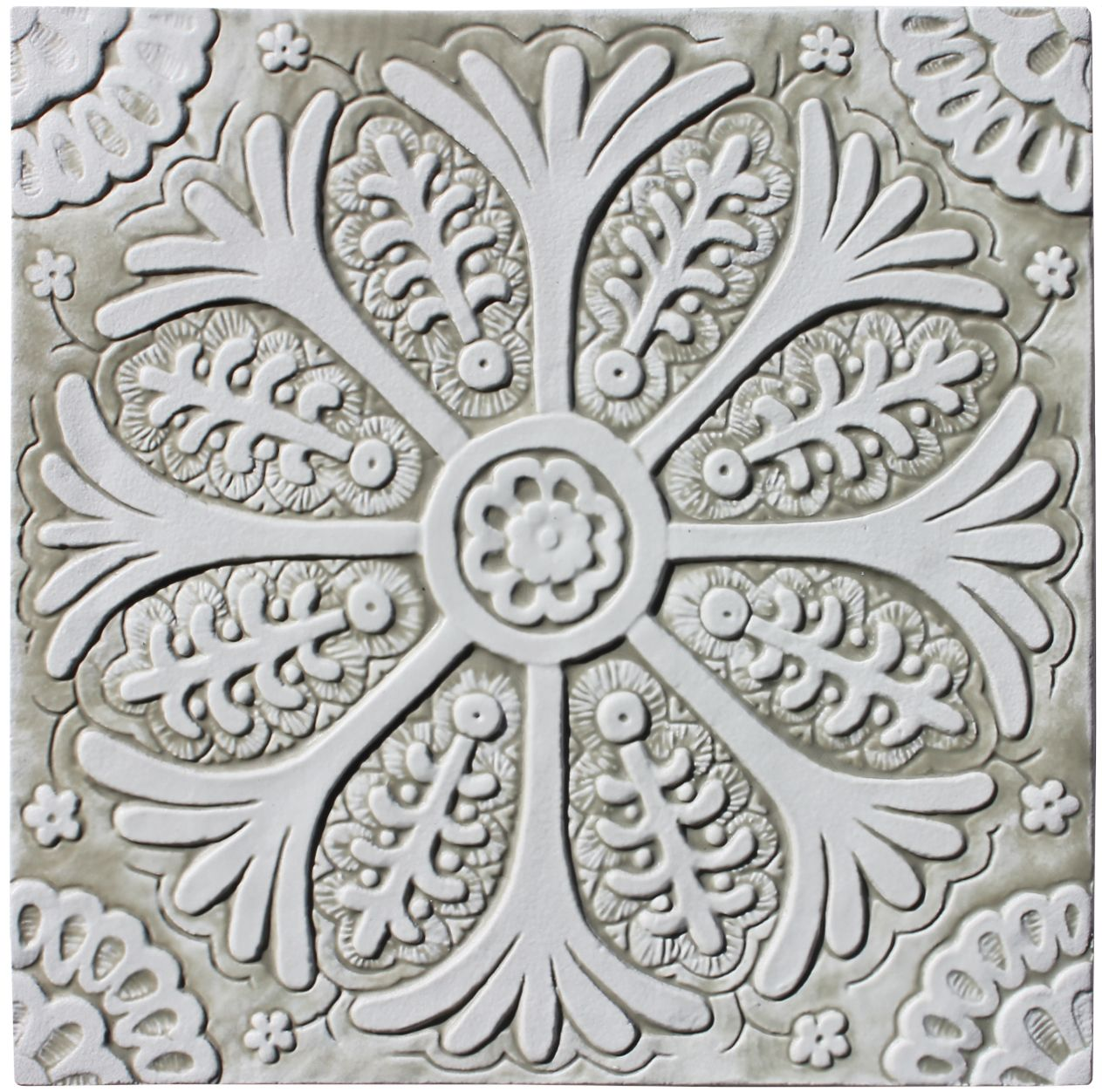 Tiles For Wall Decor Entrancing Suzani Ceramic Wall Art #3 White 30Cm  Ceramic Wall Art Walls Inspiration