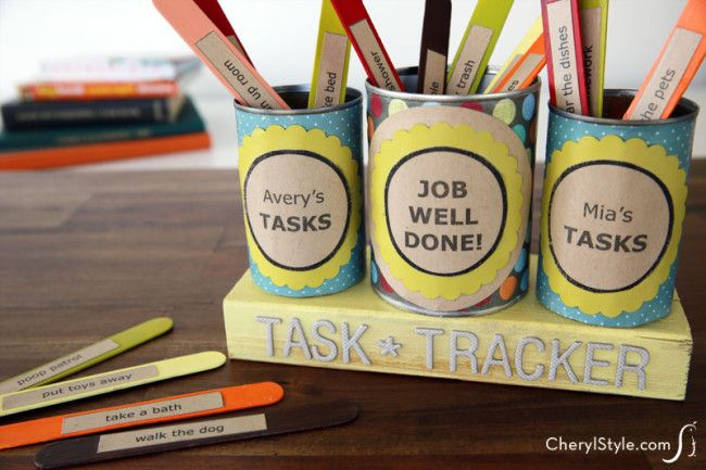 #DIY chore cans for kids—make #chores fun with a task tracker! | CherylStyle.com