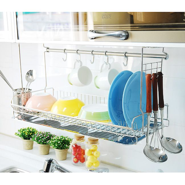 10 ideas inspiradoras para renovar y ampliar el espacio de tu cocina dish racks wall mount - Kitchen sink drying rack ...