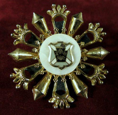 Vintage Heraldic Brooch Regal Gold Tone Blue Enamel   eBay