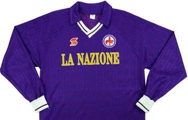 Throwback  ACF Fiorentina 1991 92 ABM Long Sleeved Home Shirt  d126c0942
