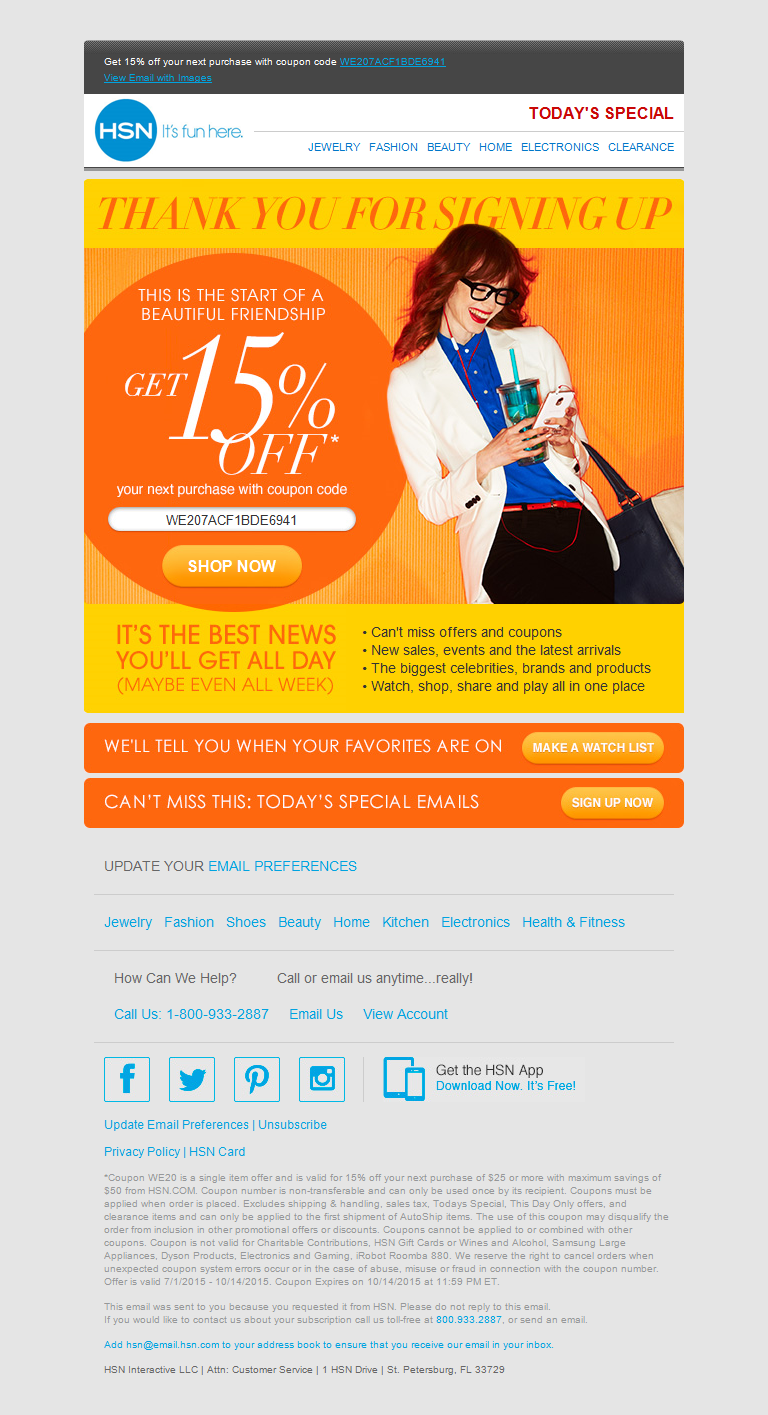 HSN 15 OFF COUPON CODE