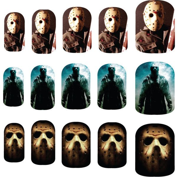 Friday the 13th - Jason Voorhees - Nail Art Decals ($6) ❤ liked on ...