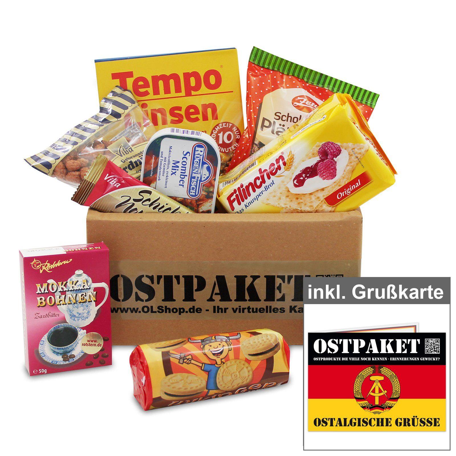 """Amazon.de: Ostpaket """"Delikate Leckerei"""" mit 9 typischen Produkten der DDR inkl. Grußkarte"""