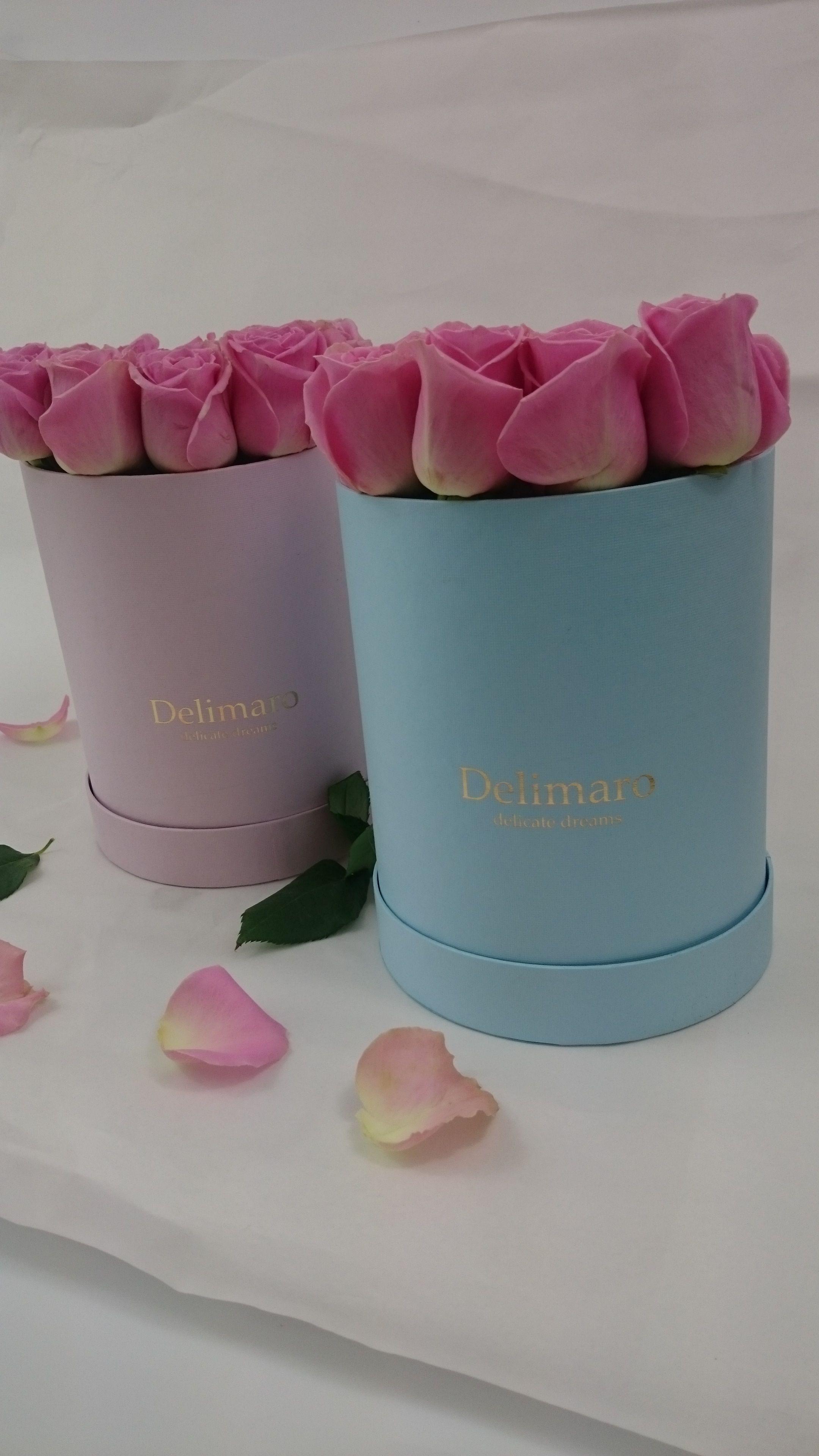 Flowerbox Delimaro Rozowe Roze W Blekitnym I Rozowym Pudelku Bom Dia Com Flores Flores