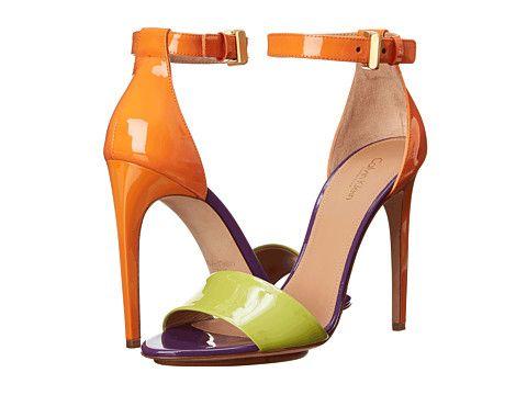 Womens Sandals Calvin Klein Collection Vira Lime/Tangerine/Grape Patent