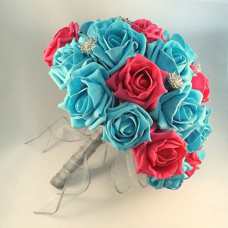 Bridal bouquet Hot pink and turquoise  With crystal flowers  Posie.co.uk