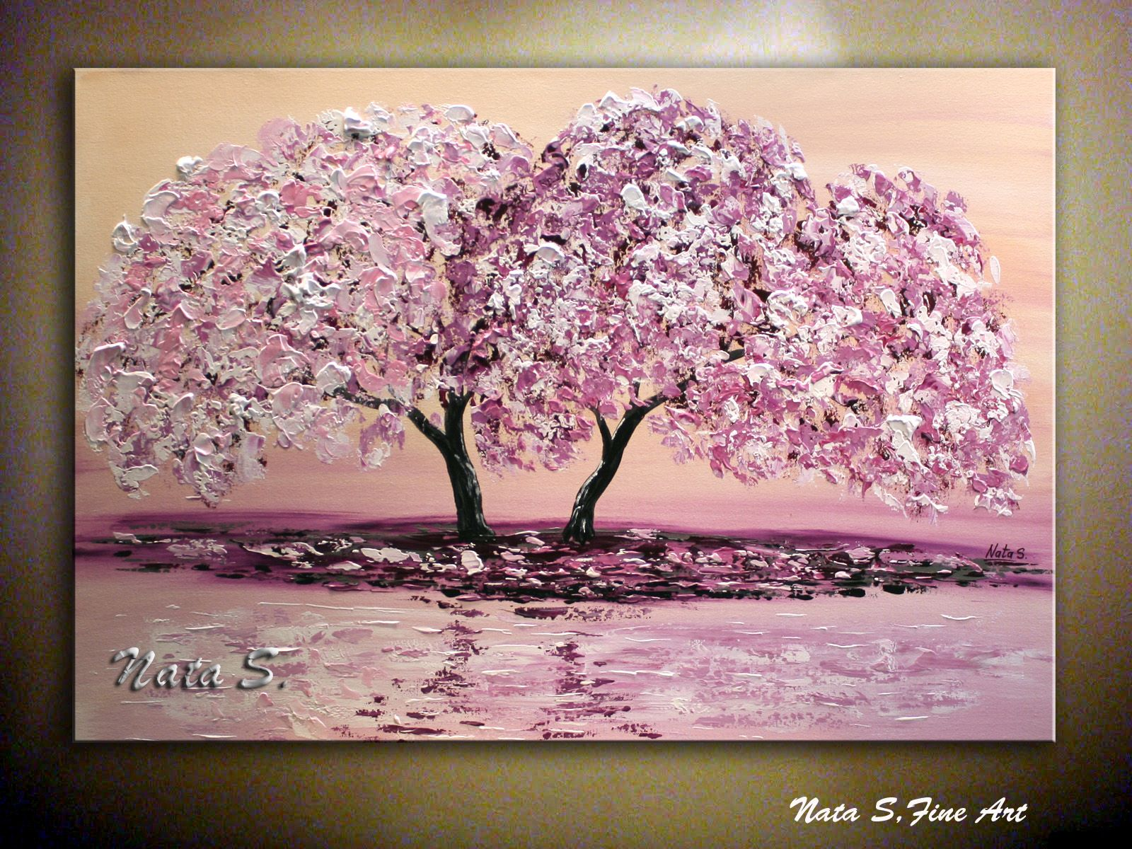 Original Contemporary Pink Cherry Blossom Painting Modern Impasto Palette Knife Thick Painting Blooming Tree 36 205807 Paintings For Sale Cherry Blossom Painting Cherry Blossom Painting Acrylic Tree Painting