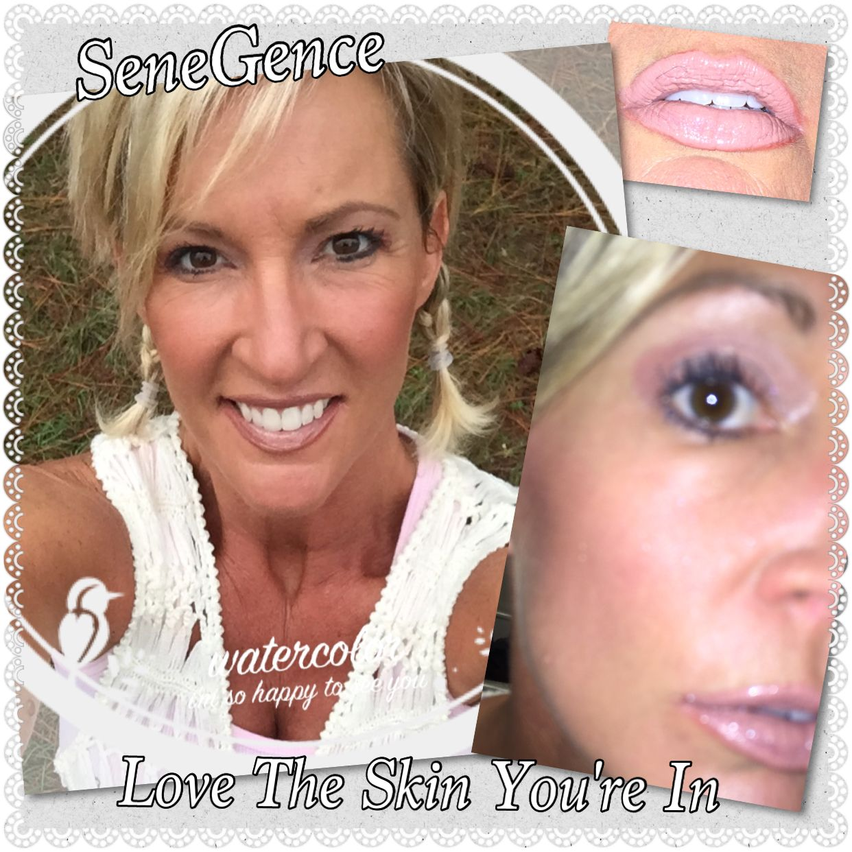 #LoveTheSkinYouAreIn featuring #LipSense First Love with Persimmon #LinerSense and Silver Glitter Gloss and Pink Posey & Whisper Pink #ShadowSense on my eyes with Moca Java ShadowSense on my brows. I also have Candlelight ShadowSense highlighting under the arch of my brows and under my eyes. #SeneGence #makeup is so versatile and #longlasting. It's great for any serious #cowgirl and for us #girlhunters