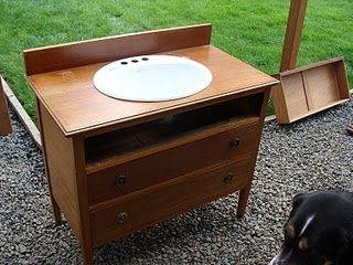 """Old chest of drawers repurposed into a sink.  Top drawer will probably be made into """"a dummy drawer"""" due to piping."""