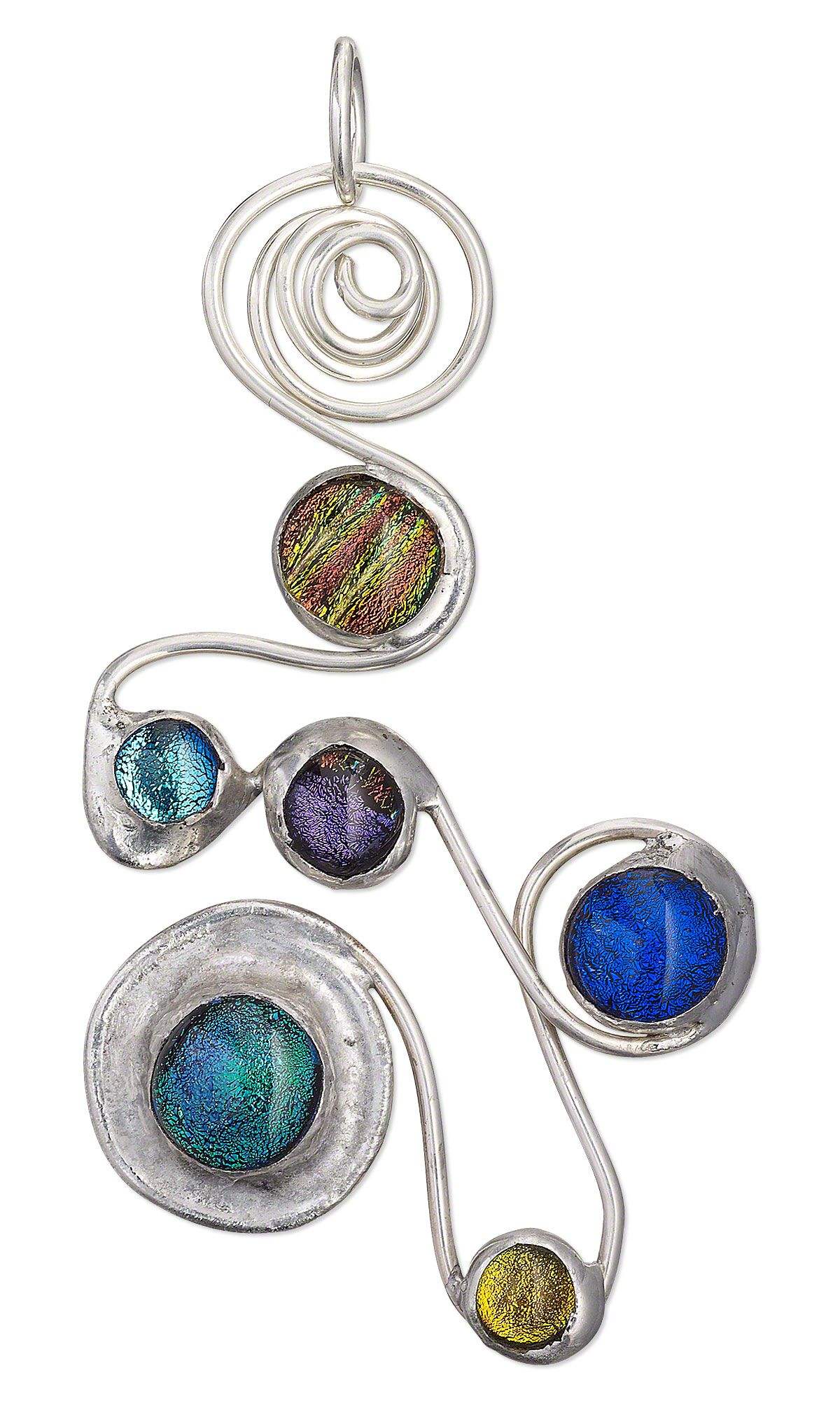 Jewelry Design - Pendant with Dichroic Glass Cabochons and Wirework ...