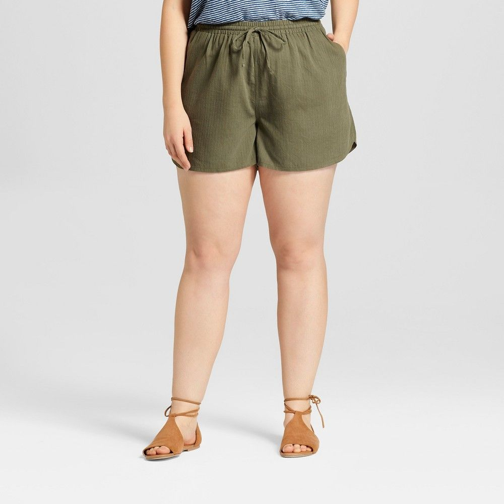 Womenus plus size pullon shorts universal thread olive x green