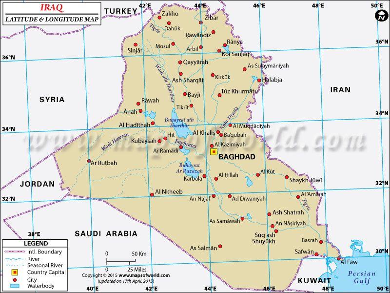 Absolute And Relative Of Iraq Iraq Latitude Longitude Map - Longitude-map-of-us