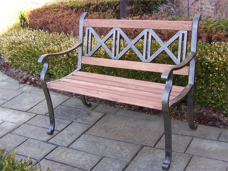 Iron Outdoor Metal Garden Bench Mission Love This 199