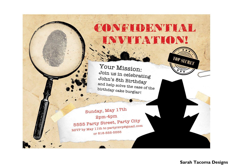 Bevorzugt Secret Agent Spy Birthday Party Invitation. Customized. Printable  HC84