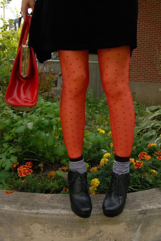 Wear colorful tights and socks together