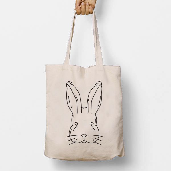 Rabbit Illustration Tote Bag