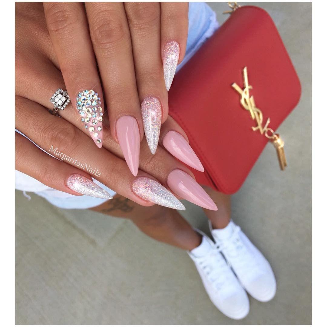 Light Pink Stiletto Nails Pink Stiletto Nails Bling Nails