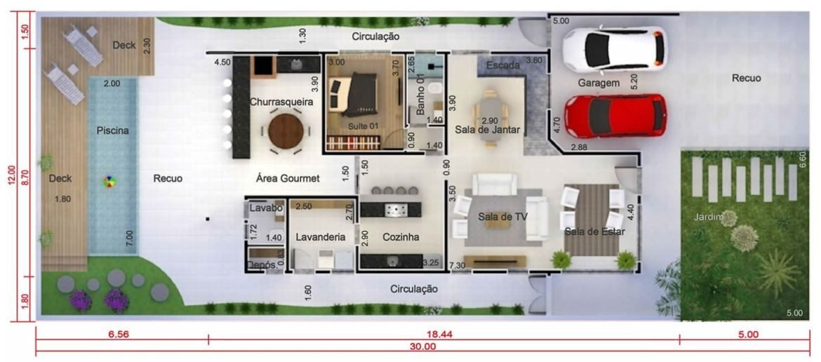 Home Design 12x30 Meters 4 Bedrooms With Images Modern House Floor Plans House Design Cottage Style House Plans
