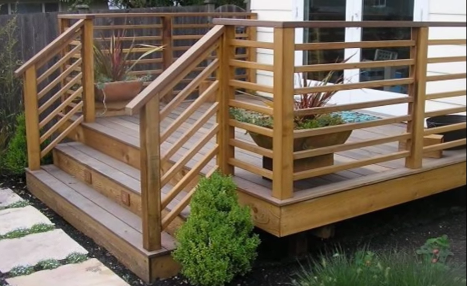 Horizontal 1x2s Patio Railing Deck Railing Design Wood Deck