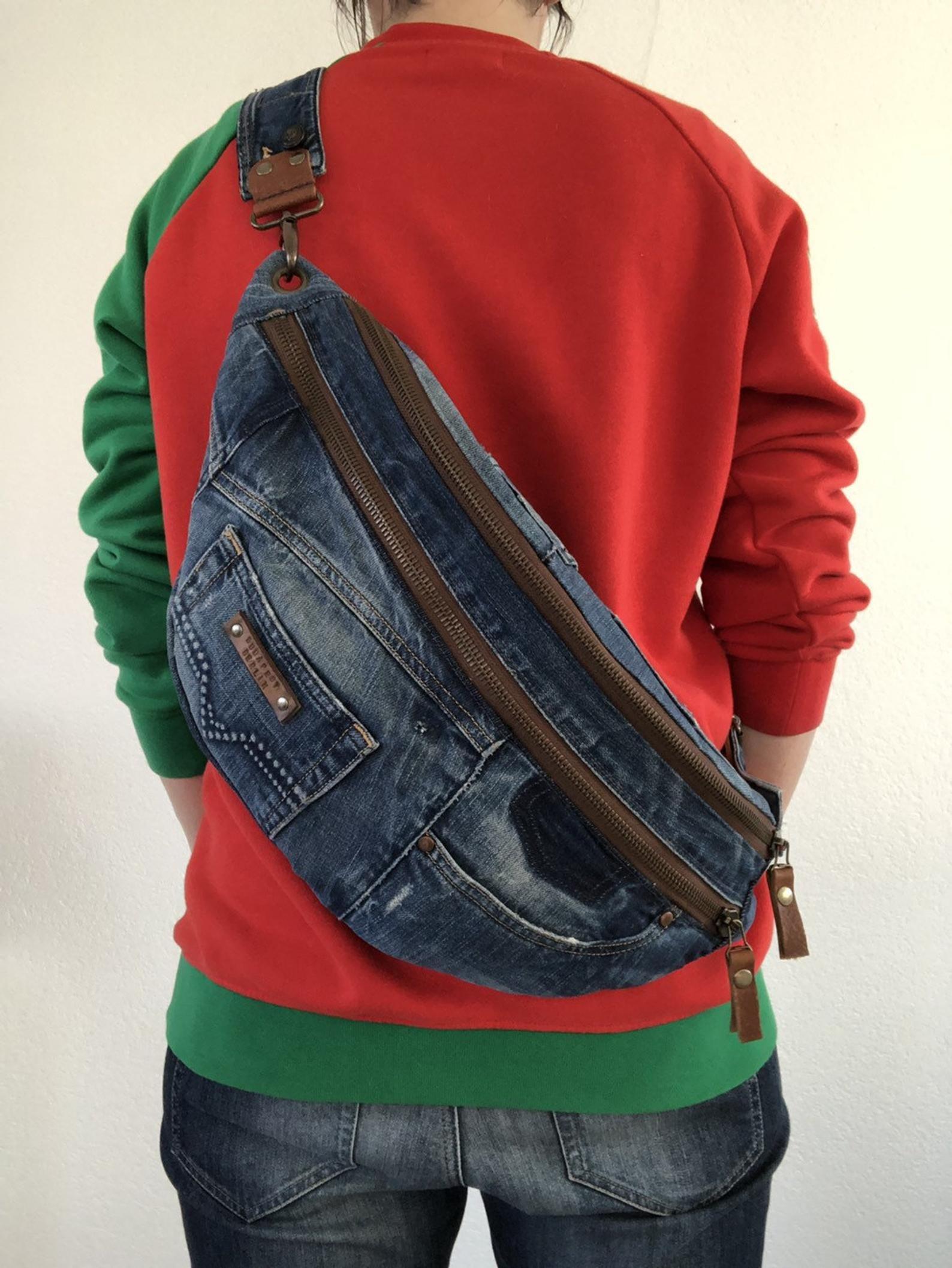 Repurposed Diesel jeans crossbody bag, hobo bag