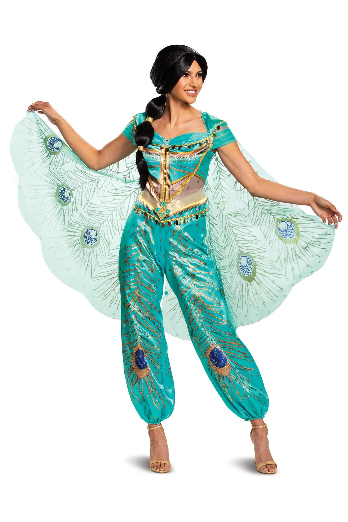 Disney Jasmine Teal Deluxe Costume for Adults Chasing