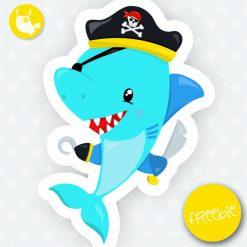 Pirate shark Freebie - Prettygrafik Store