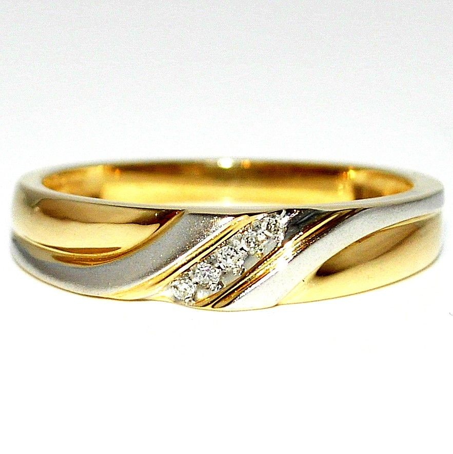 10K Gold Wedding Ring Mens 5mm 0 05ct Two tone White and Yellow Gold Size 11