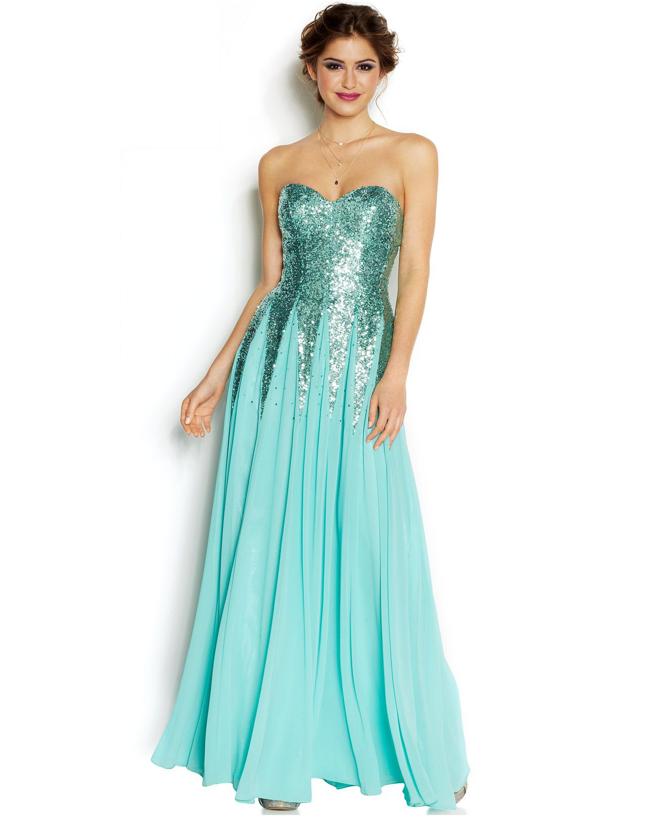 B Darlin Juniors\' Sequin Strapless Gown - Juniors Shop All Prom ...