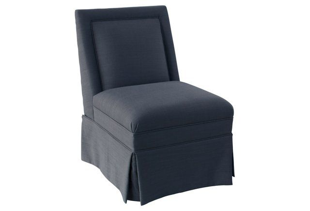 Greer Skirted Slipper Chair, Navy Linen