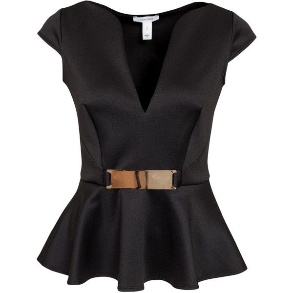 Nly One Gold Trim Peplum Top (1.215 RUB) ❤ liked on Polyvore featuring tops, shirts, blusas, peplum top, black, womens-fashion, tall shirts, short sleeve tops, v neck tops and v-neck tops