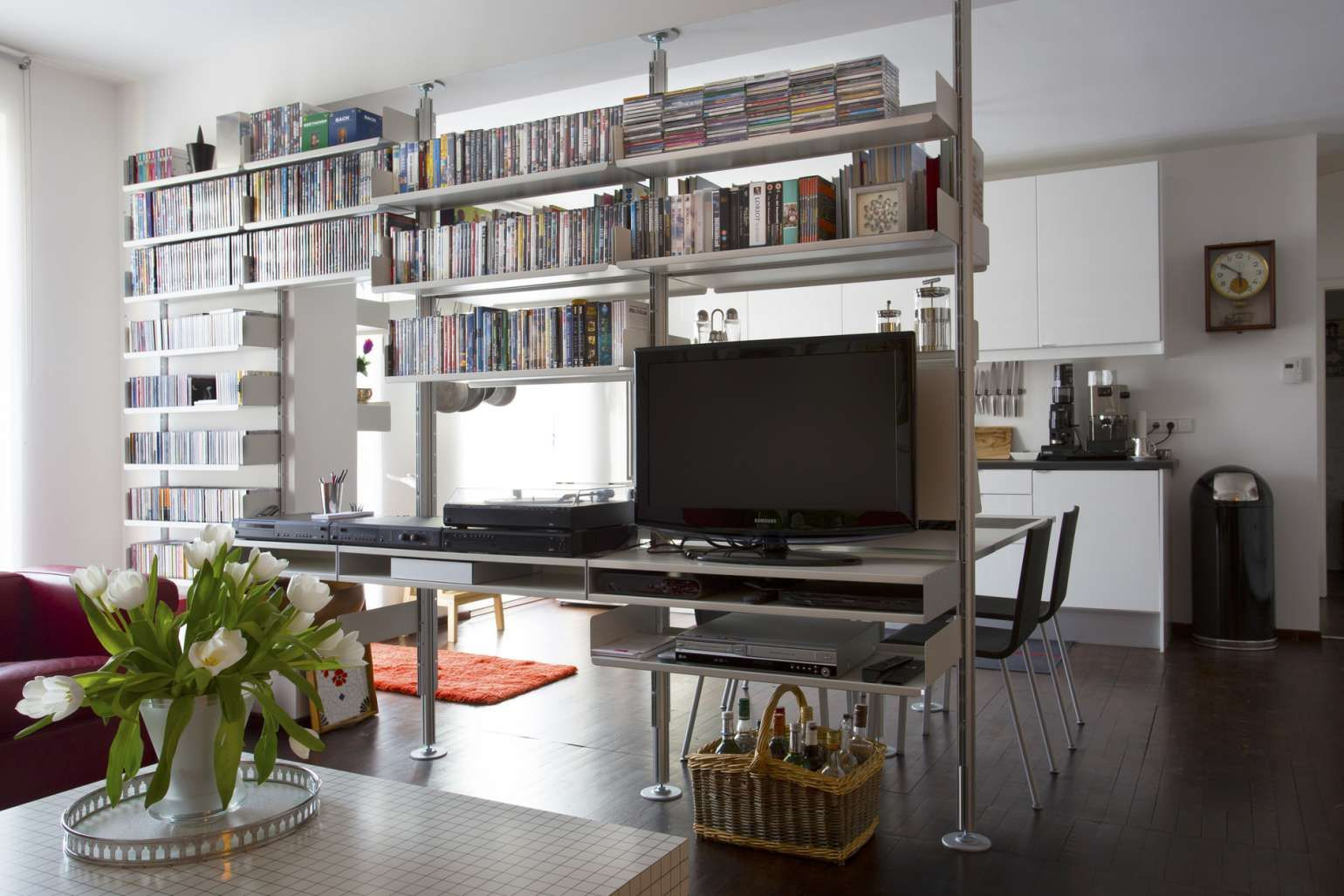 Tv stands can be placed atop a double shelf the slot in the double