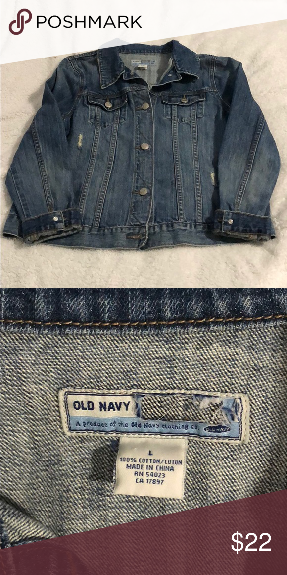 Old Navy Jean Jacket Great Condition Distressed Look Model Is