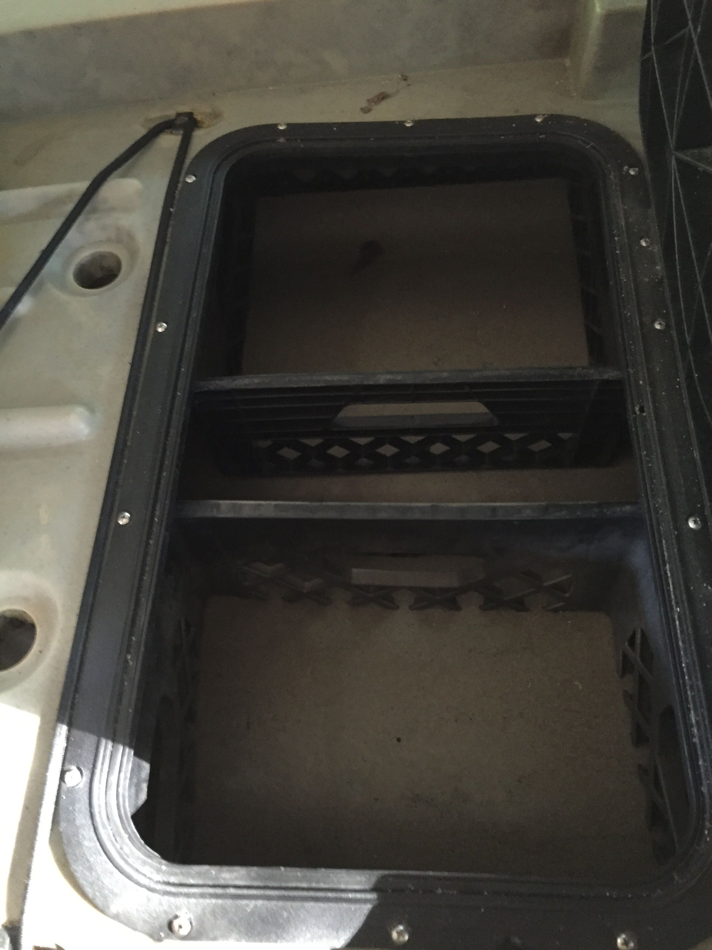 Ascend Fs128t Kayak Rear Storage Hatch Gear Tends To Slide All Over Battery Wiring Diagram The Place In Belly Of With Milk Crates Cut And Placed Inside