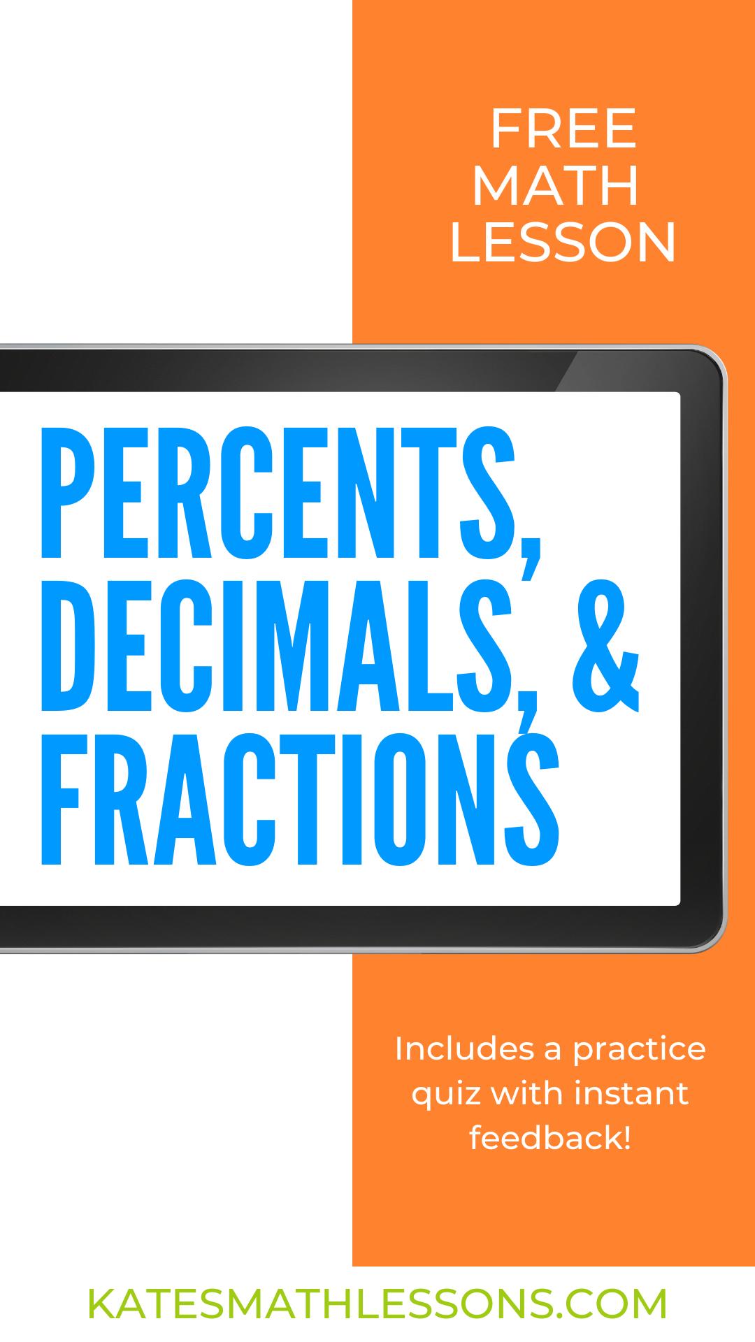 Converting Between Percents Decimals And Fractions In