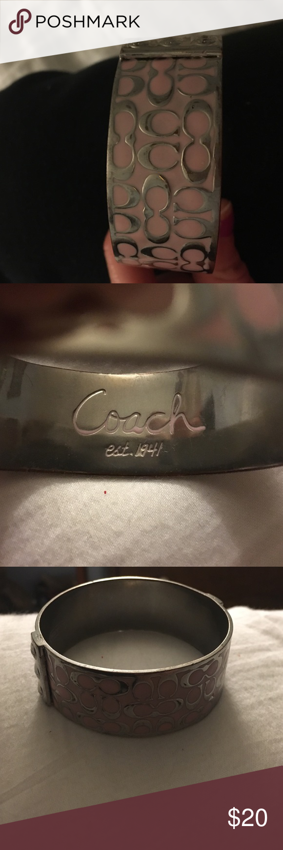 Coach bangle bracelet Baby pink and silver coach bangle bracelet very cute but worn just a little too big for my wrist Coach Jewelry Bracelets