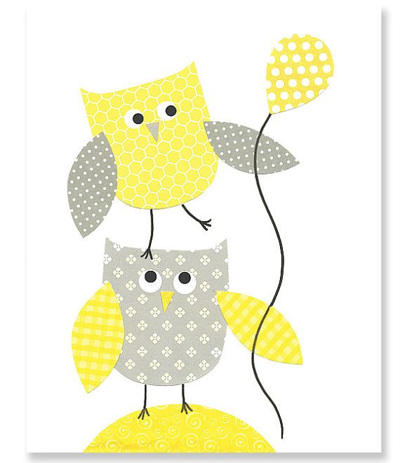 Yellow and Gray Nursery Owl Nursery Print by SweetPeaNurseryArt ...