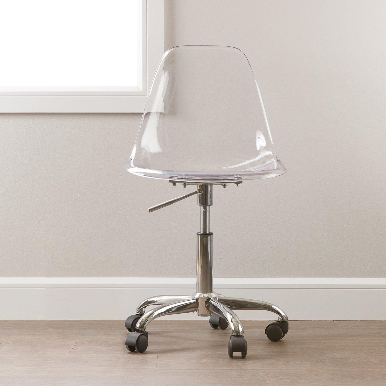 Clear fice Chair Swivel Modern Acrylic Rolling Desk Seat